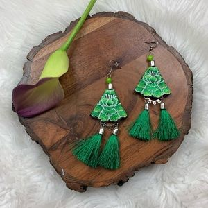 Green Floral Embroidered Fringe Statement Earrings